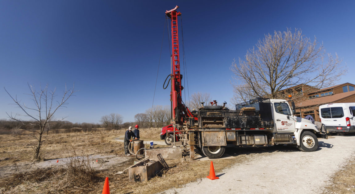 Well drilling in Havenwoods State Forest in Milwaukee, WI on Tuesday March 10th, 2020.